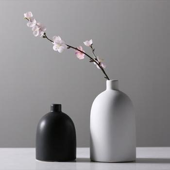 Home Decoration Simple Design Black And White Ceramic Flower Vase