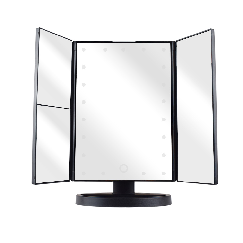 Private Label LED Makeup Mirror Wholesale High Quality Foldable Mirror With USB Charge, Black;white;pink