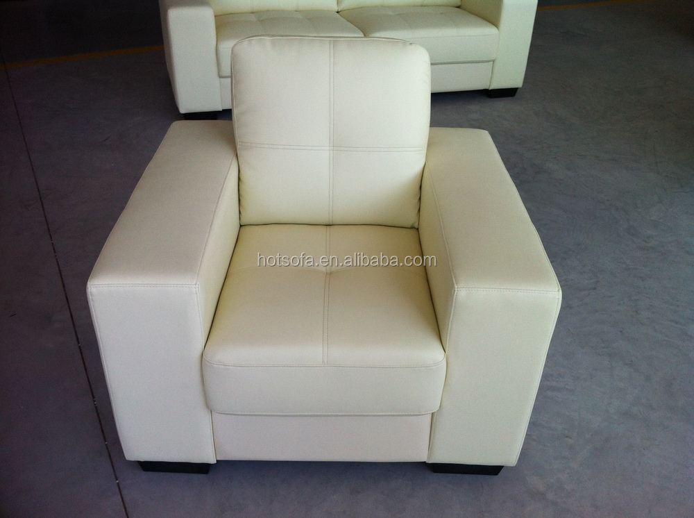 F601 Single Sofa Chair With Wide Armrest White Leather Comfortable