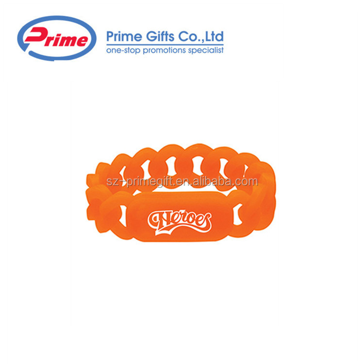 Promotional Custom  Silicone Wristband Chain Bracelet for Children