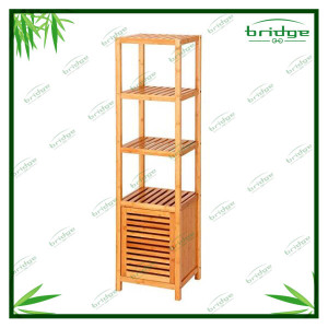 5-tier Multifunction Bamboo Tall Floor Cabinet Bathroom Shelf the tier rack