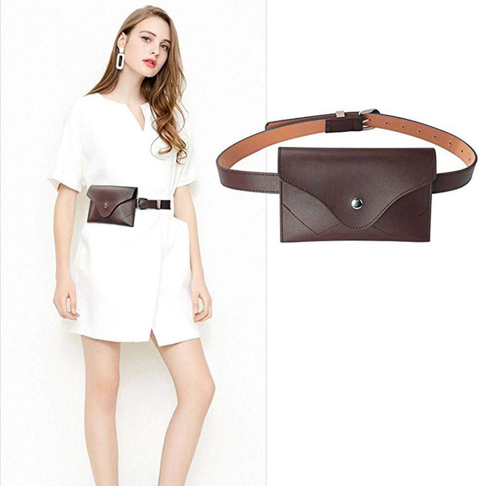 JNHVMC Travel Mini Pu Leather Pack Waist Bag Waterproof Antitheft Women Walking Shopping Belly Band Belt Bag