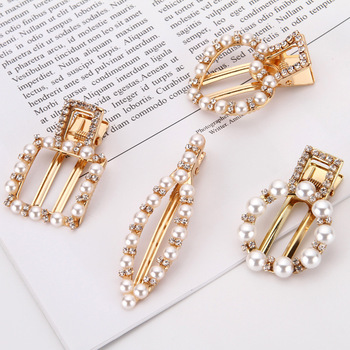 Fashion Accessories Lovely Design Sweet Pearls Hair Clip For Woman