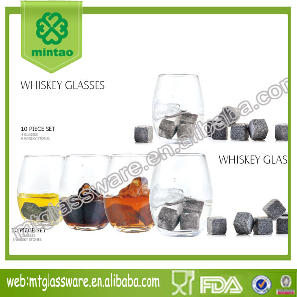 heavy square base whiskey glass with whiskey stone