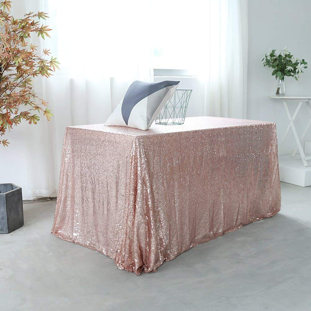 """90x132"""" Sequin Rectangular Tablecloth for Event/Wedding/Party/Baby Shower - Rose Gold"""