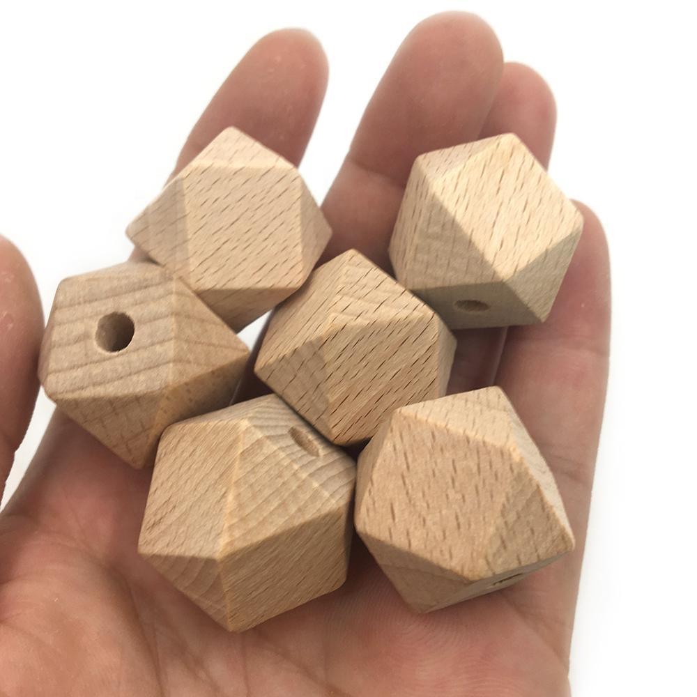Organic Beech Wood 20mm Hexagon Beads Geometric Teething Beads