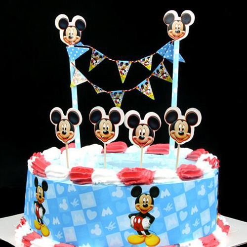 Mickey kids party cake topper pennant flag banners