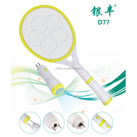 D77 hight quality rechargeable electric mosquito racket with flashlight torch