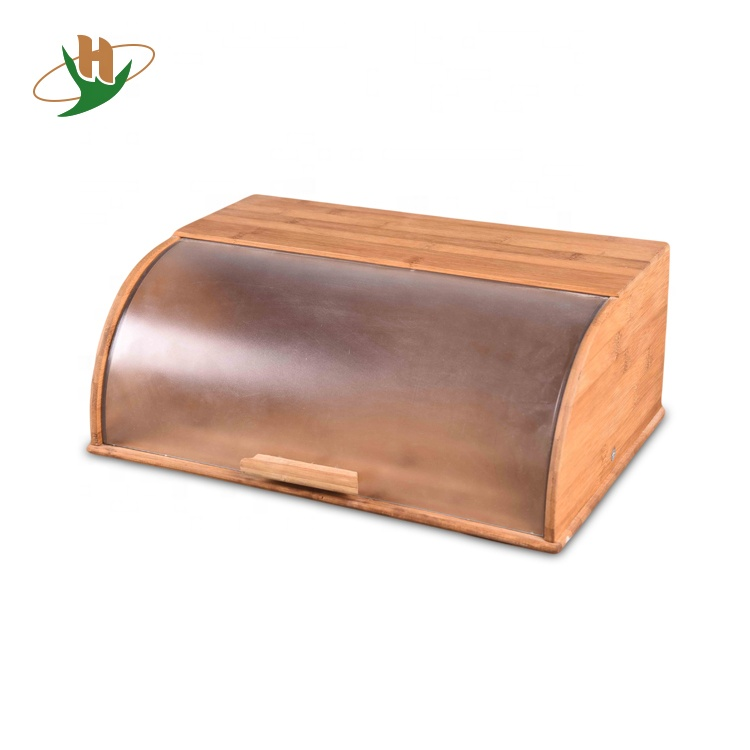 Countertop food storage bin wood bamboo bread box with rolltop plastic cover