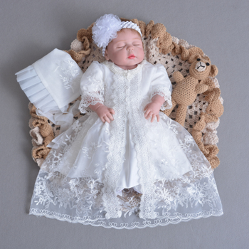 New design boutique baby girl clothes lace Infant pure white embroidered long dress newborn christening gowns