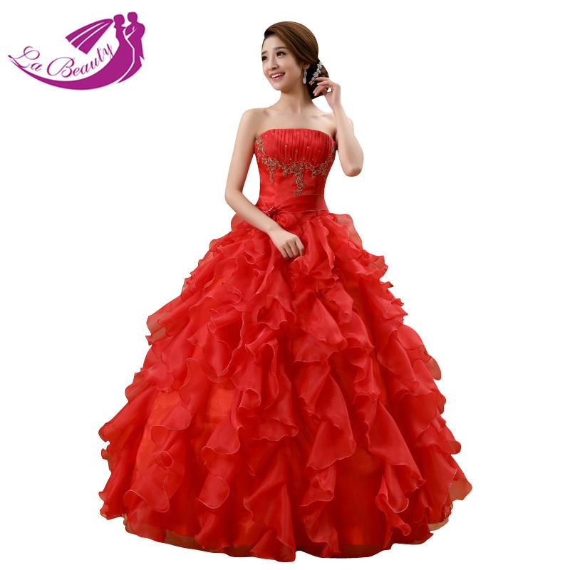 Vintage Wedding Dresses Red: Vintage Red Wedding Dress Ball Gown Off Shoulder Bridal
