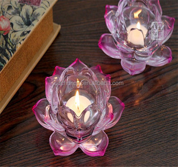 Purple Crystal Lotus Flower Candle Holder Crystal Candle Jar With