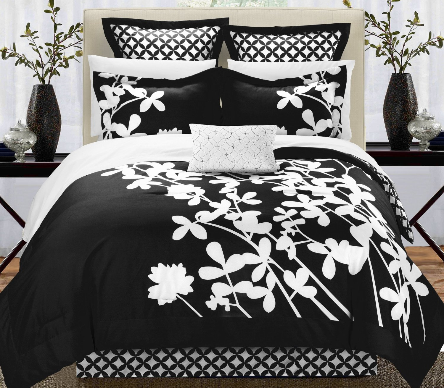 Cheap black and white floral comforter find black and white floral get quotations 7 piece comforter set in modern floral design reversible king size black white mightylinksfo