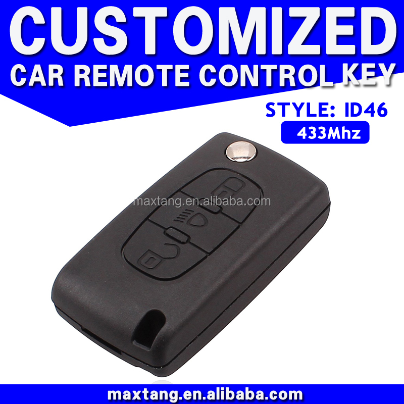 For Peugeot Remote Car Key Auto Alarms Remote Start 3-Button Car Remote Control Key with 433MHz Frequency MTF-100503