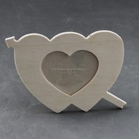 cheap unfinished kids DIY heart shaped plywood photo frame for paint
