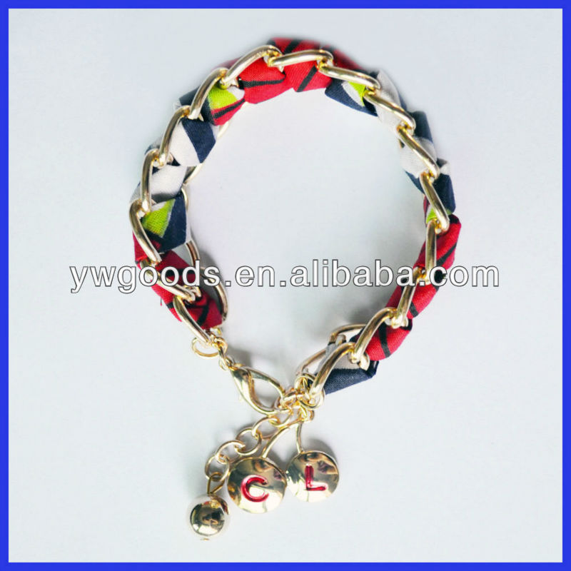 Chintz Fabric Wrapped and Twisted Embellished Chain Bracelet