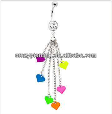 Multi Chain Drop Neon Hearts belly button rings