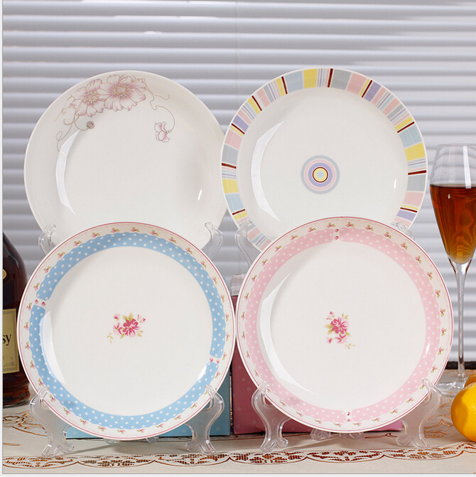 Haonai White Porcelain Dinner Dish with Customized Printing.