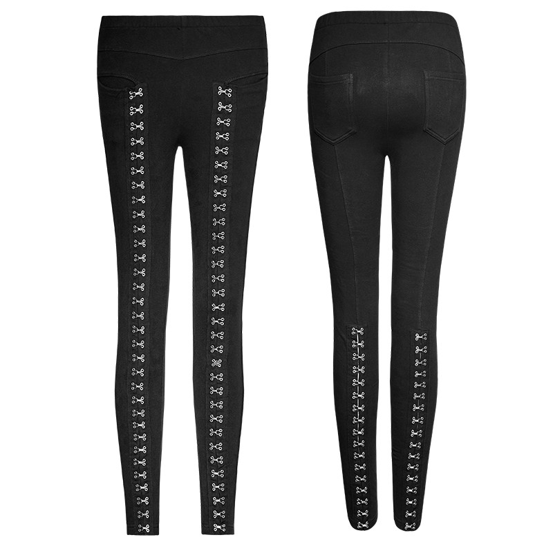 K-276 Punk Super Slim Split Metal Buckle Decoration Split Tights Leggings