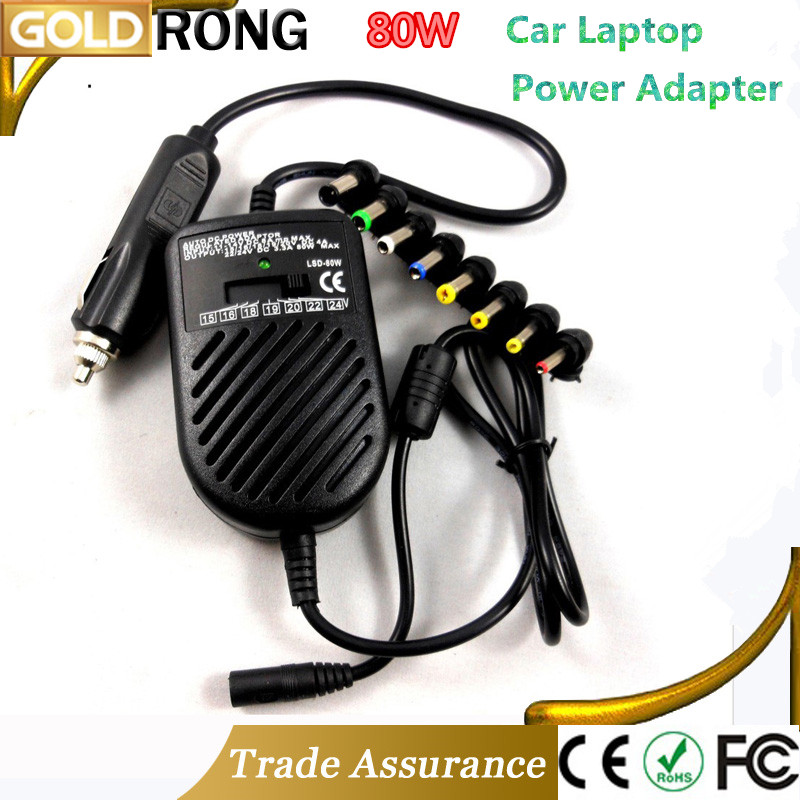 Universal 80W DC Car Charger Laptop Notebook Adapter Auto Adjustable LED Power Supply Set + 8 Detachable Plugs Computer Charger