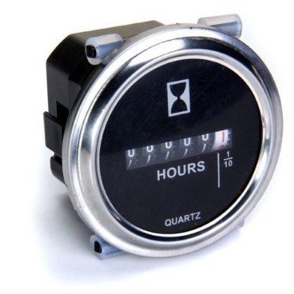 Voltmeter Gauge - SAE American Classic Black II, White Modern Needles, Chrome Trim Rings, Style Kit DIY Install Aurora Instruments GAR26ZEXNABCD Voltmeter Gauge