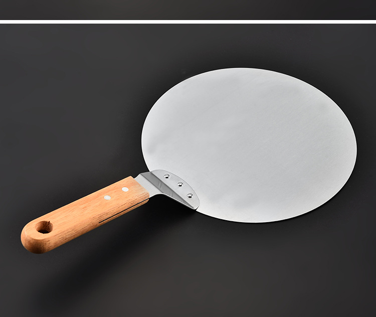 "10 ""stainless steel pizza safe transfer shovel with wooden handle large round cake safe transfer machine baking tool"