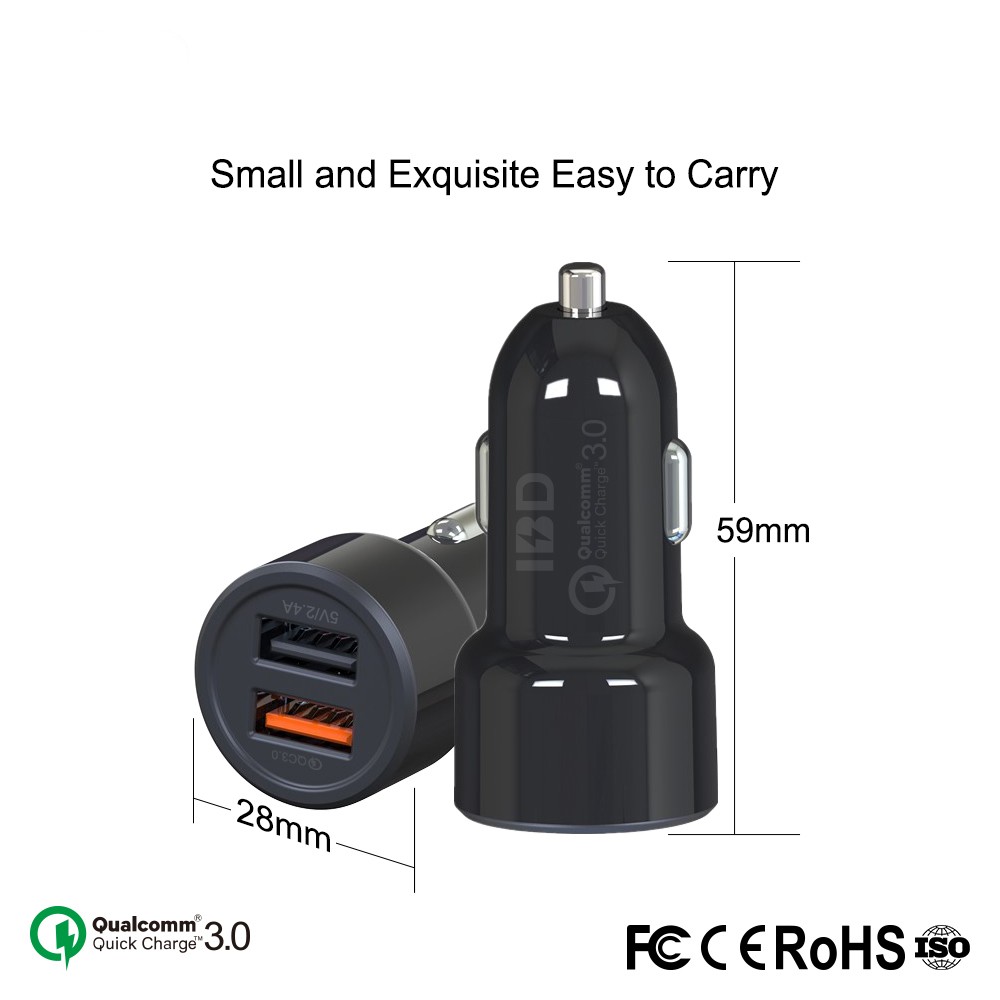 Hot sale portable 2 port usb mini fast 2.4a qi wireless mobile phone car charger quick charge 3.0