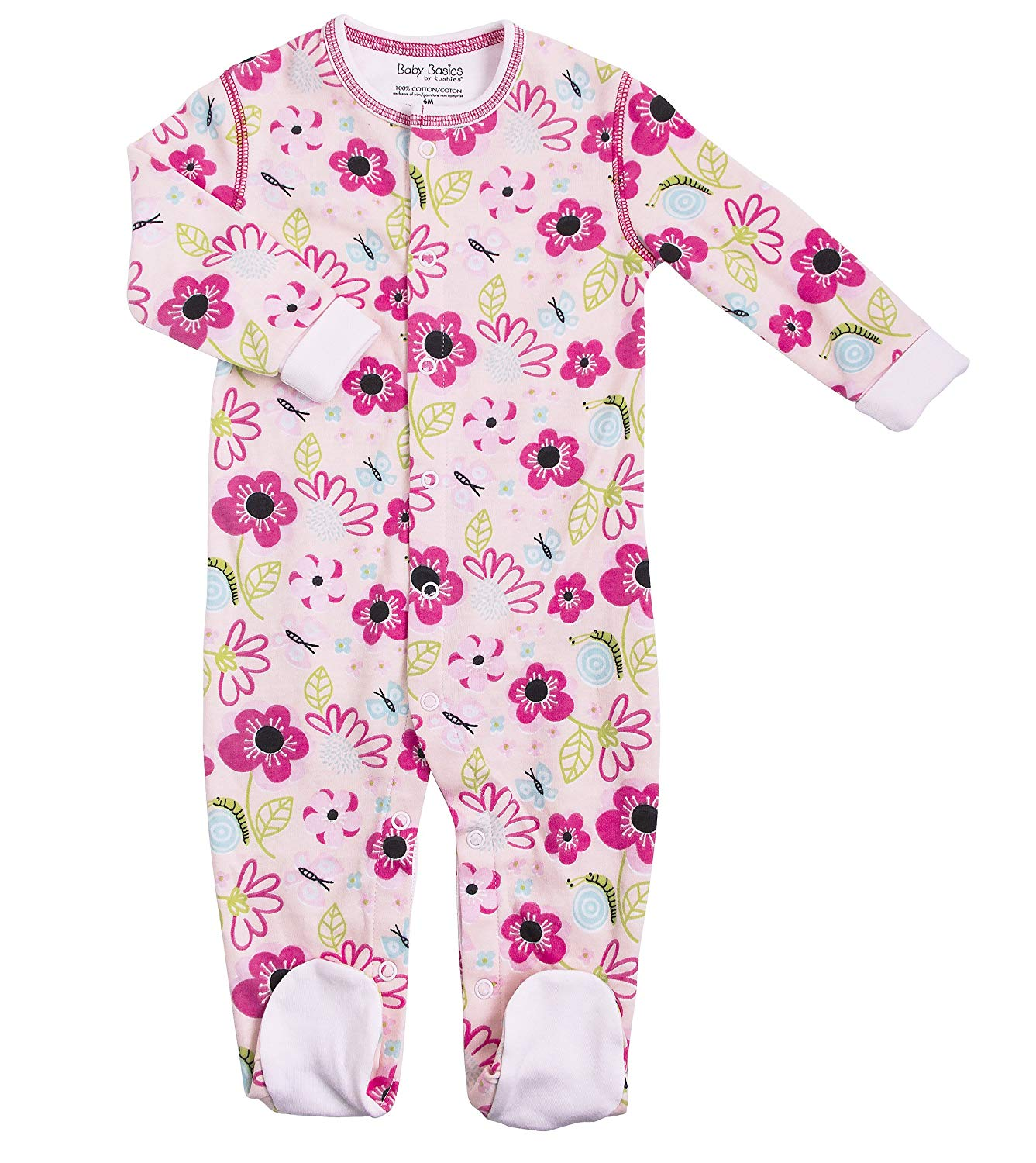 2d4c2c0752 Get Quotations · Kushies Cotton Baby Pajamas Girls Footed Sleeper Footie  Sleep N Play One Piece
