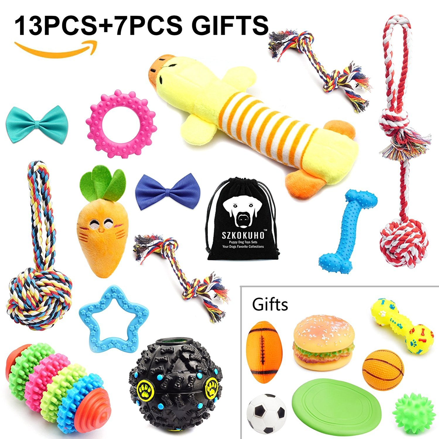 SZKOKUHO 10-20 Pack Puppy Dog Chew Toys Set Dog Accessories —Plush Toys,Dog Ropes,Squeaky Toys,Puppy Chew Toys,Dog Balls,Dog Bone Toy,Dog Flying Discs,Dog Bow Tie,For Small to Some Medium Dogs