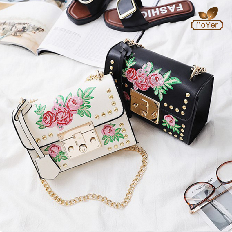 Hot sell fashion embroidery rose crossbody bag women leather small shoulder bag