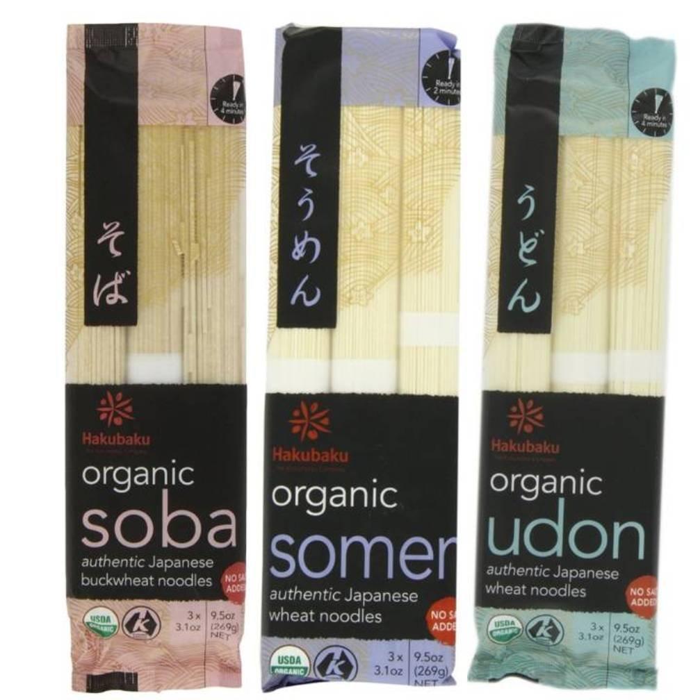 Hakubaku Organic Japanese Noodle 3 Flavor Variety Bundle: (1) Hakubaku Organic Soba, (1) Hakubaku Organic Somen, and (1) Hakubaku Organic Udon, 9.5 Oz. Ea. (3 Packs Total)