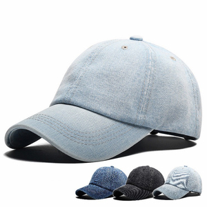 Yiwu wholesale washed blue bland Plain Distressed Denim Baseball Cap