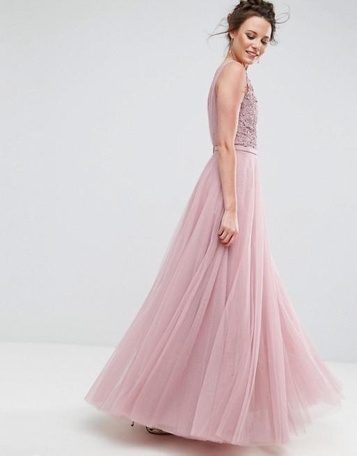 Applique floral bordado largo Maxi noche de boda noche de baile ...