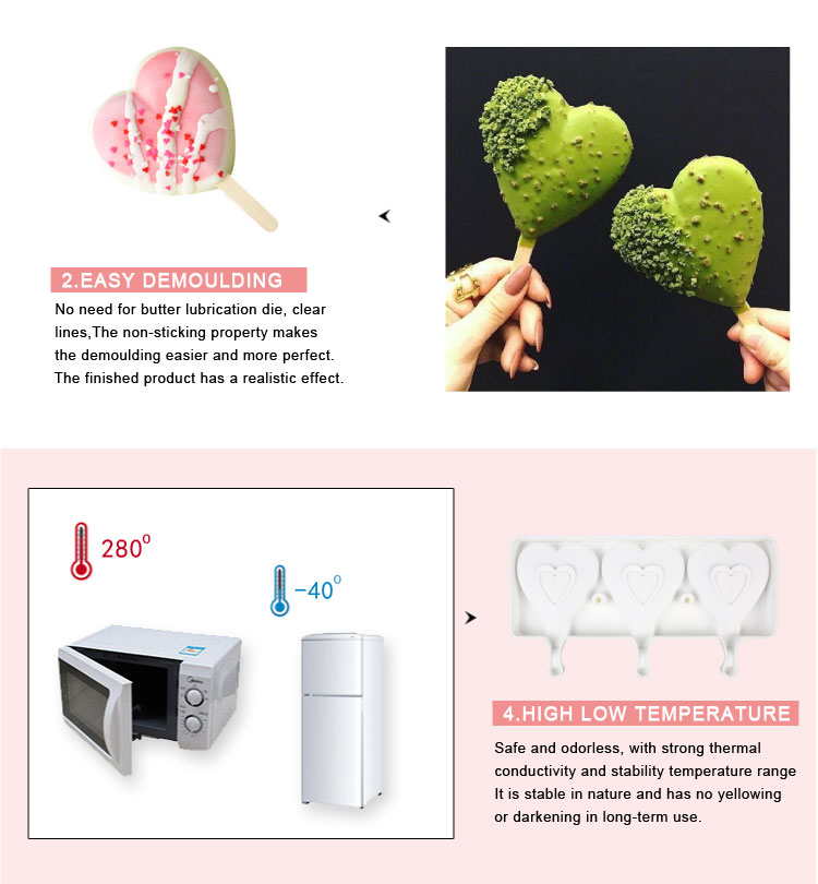 Diy Heart Shape Ice Cream Mold Silicone Ice Cube Tray Popsicle Silicone Mold