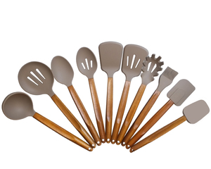 Wholesale premium 10 piece silicone covered nylon kitchen utensils Set/Cooking Utensils Sets with acacia wooden handle