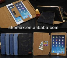 High quality Cowboy style Jeans leather case for ipad mini/air/5/4/3/2