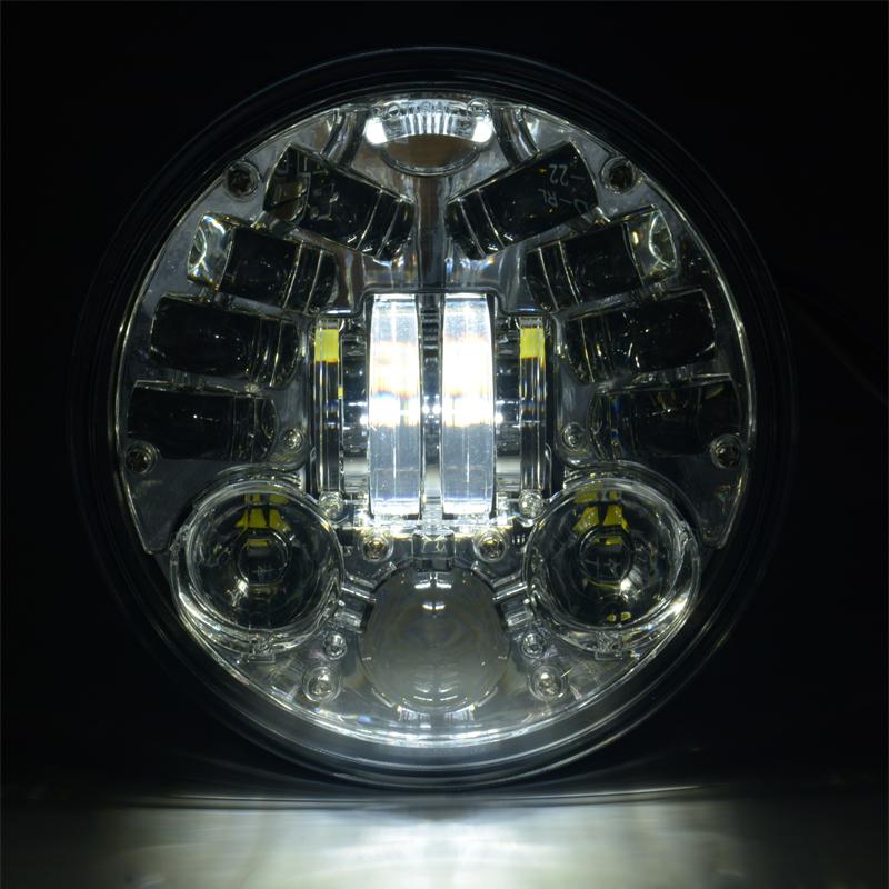5.75 Inci Hitam Chrome LED Sepeda Motor Tinggi Rendah Balok Head Lamp LED 60 W Lampu LED untuk Sepeda Motor lampu