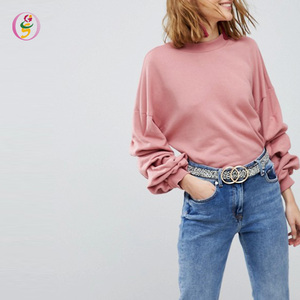 Hot Sales Autumn Fashion Ruched Sleeves Sweat Tops Ladies Loose Pullover Long-sleeves Sweatshirt