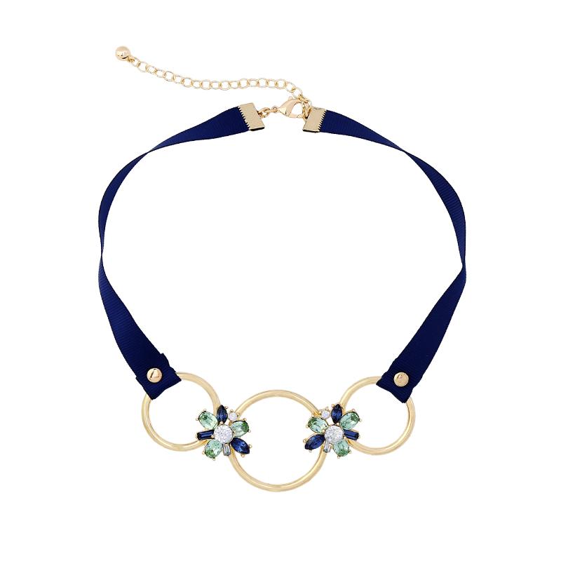 Xl00879b Wholesale Glass Stone Statement Women Jewelry Fashion Three Hoops Black Necklace Choker фото