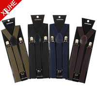 Zhejiang Wholesale Custom Black Yellow Plain Cheap Boy Elastic 3 Clips Suspenders for Men