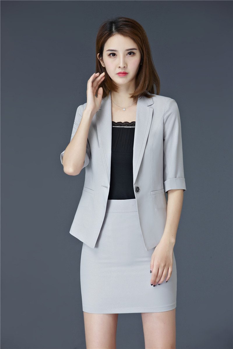 f4a88388302a 2019 Formal Grey Blazer Women Skirt Suits Ladies Business Suits ...