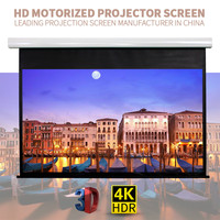 100 Inches 4 3 electrical tab tension pull -down projector screen with matte white flexible fabric/curtain