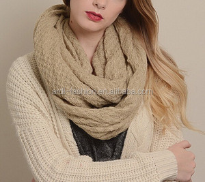 acrylic cashmere ladies cable knit infinity scarf