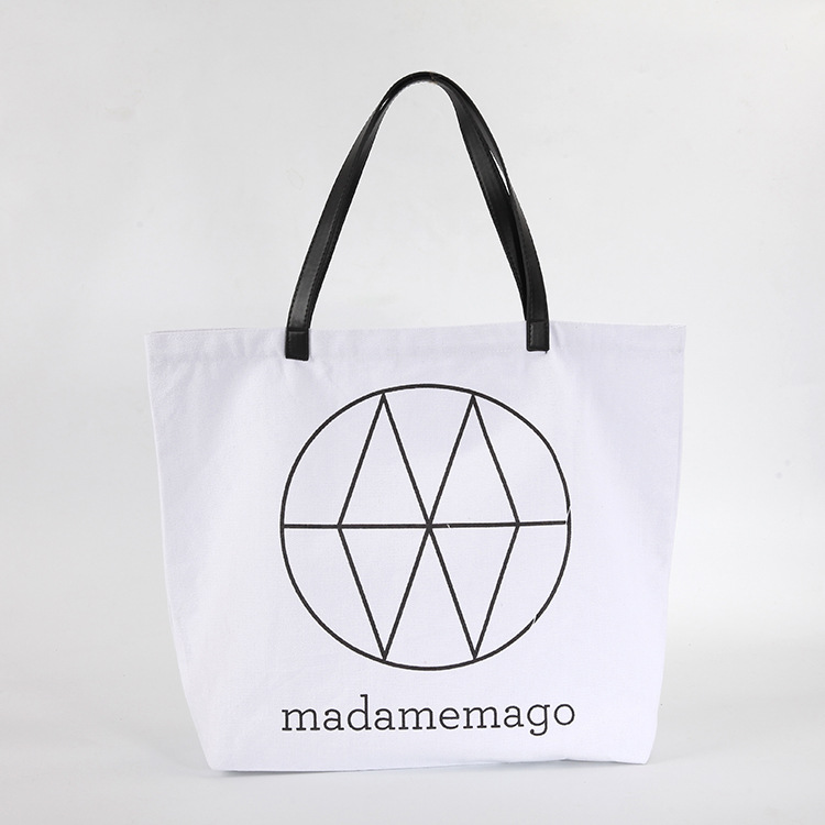 Green canvas bags customized advertising full cotton rope beach bag portable cotton shopping bags custom LOGO can be printed