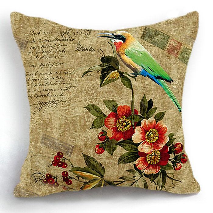 Retro Vintage Floral Bird Home Decor Sofa Decorative Pillow Case Funny Cushion Cover Automotivo Cojines almofadas para cama