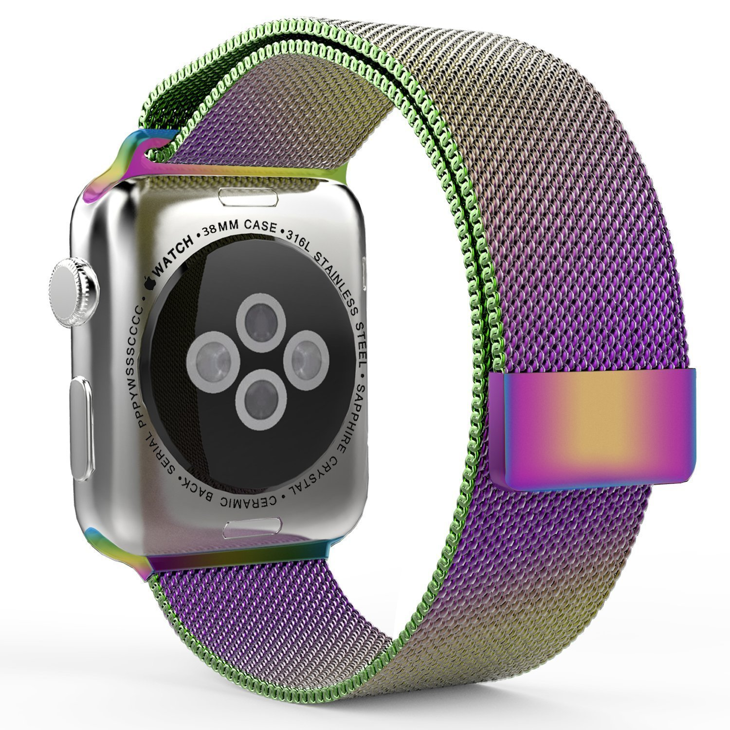 Apple Watch Band, 38mm Milanese Loop Stainless Steel Bracelet Smart Watch Strap Band with Unique Magnet Lock for iWatch All Models No Buckle Needed (colorful 38mm)