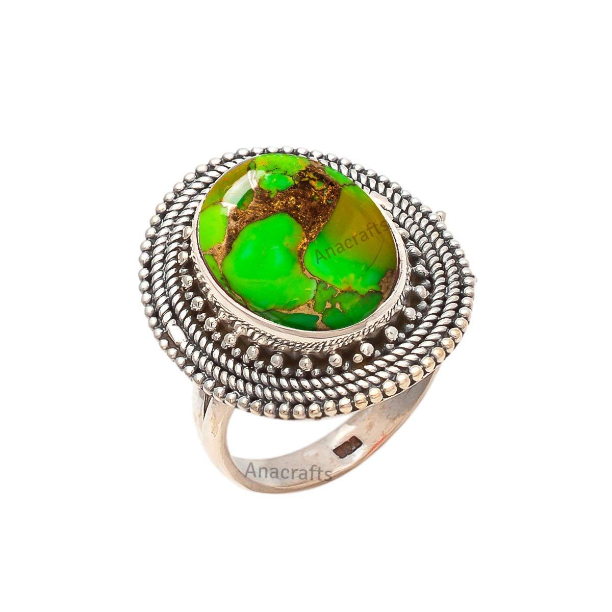 Green Copper Turquoise Ring 925 Sterling Silver - Statement Gemstone Ring For Girl Women Size US 4 5 6 7 8 9 10 11 12
