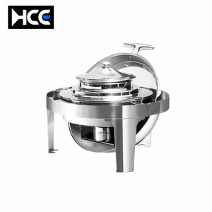 glass cheap gold roll top copper chafing dish candle stainless steel buffet server food warmer showcase display
