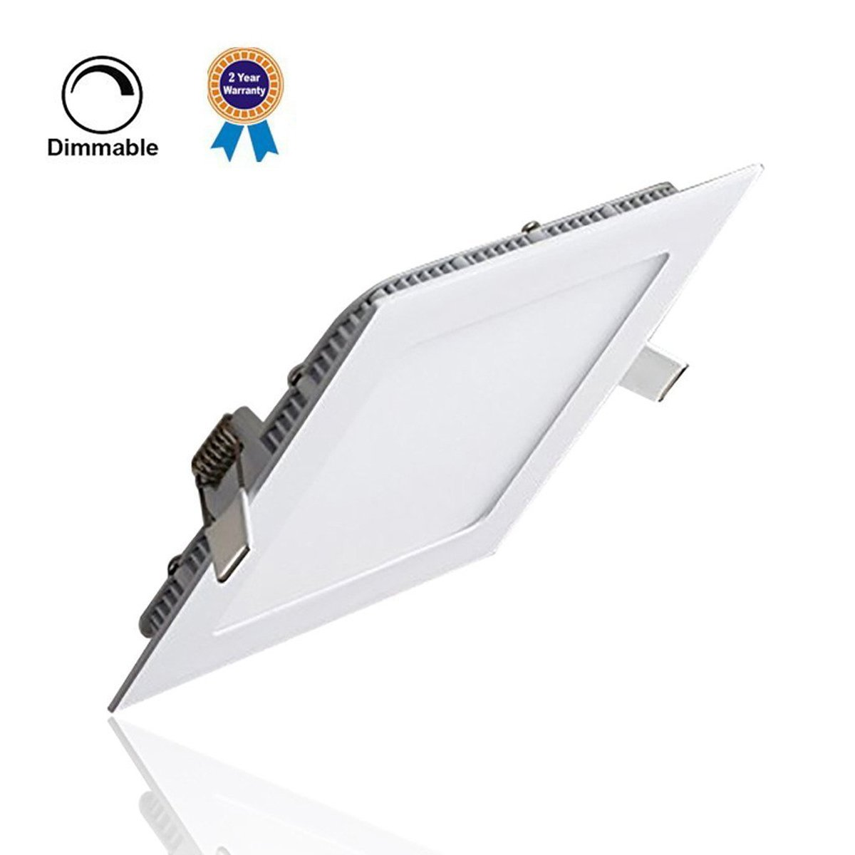 LED Panel Light Lamp Dimmable, szwintec 18W Ultra-thin Square Recessed Ceiling Light, 120W Incandescent Equivalent, 1440lm, Warm White 3000K, Cut Hole 8.1 Inch, Downlight with 110V LED Driver