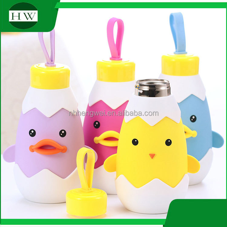 double walled cartoon chicken duck stainless steel vacuum tube sealed travel drinking water bottle mug cup
